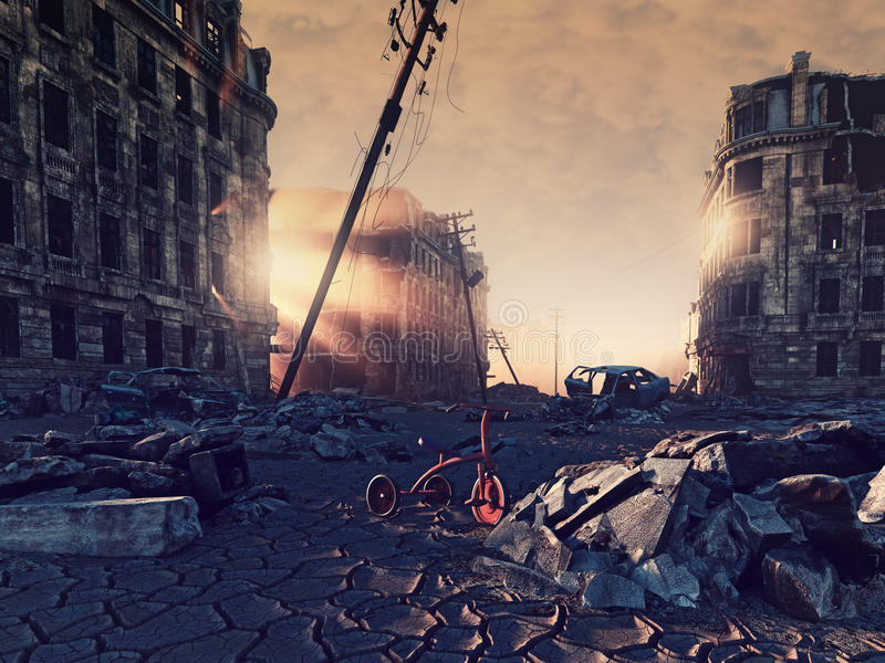 Ruins of a city. With a crack in the street. 3d illustration concept vector illustration
