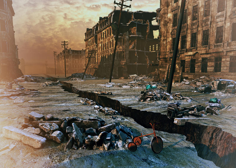 Ruins of a city. With a crack in the street. 3d illustration concept royalty free illustration