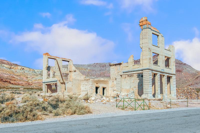 Ruins of the Cook Bank building in Rhyolite ghost town.Nevada.USA. Ruins of the Cook Bank building in Rhyolite ghost town near Death Valley National Park. Nevada stock photography