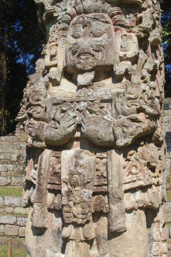 Maya Stela in Copan stock photography