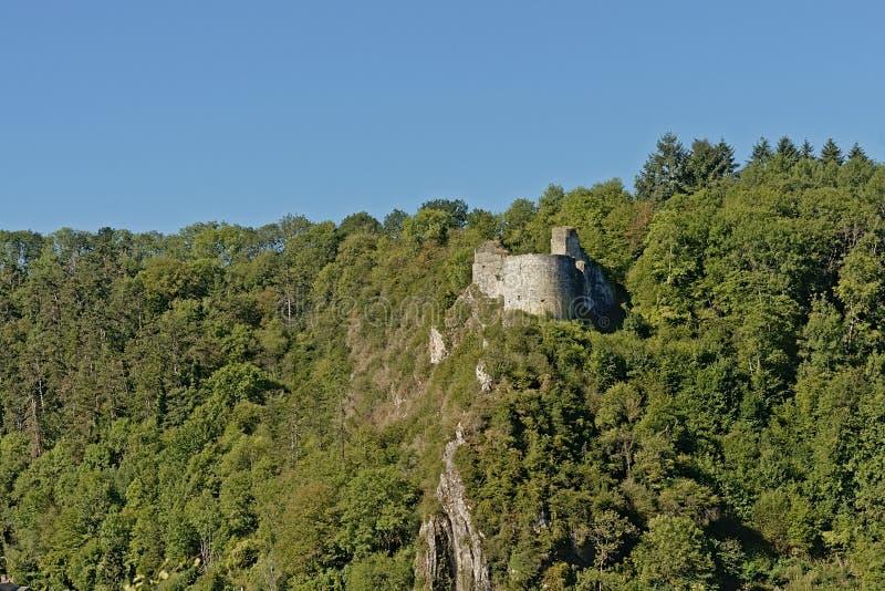 Ruins of crevecoeur castle in Bouvigne sur Meuse stock photos