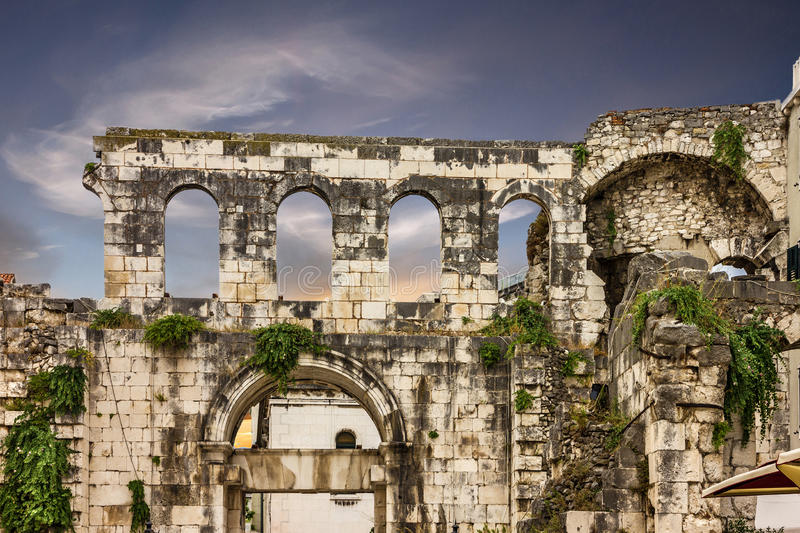 Ruins in Croatia, Split, Diocletian palace wall.  stock image