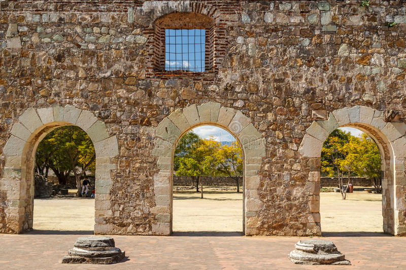 Ruins of the Cuilapan de Guerrero monastery, Oaxaca royalty free stock photos