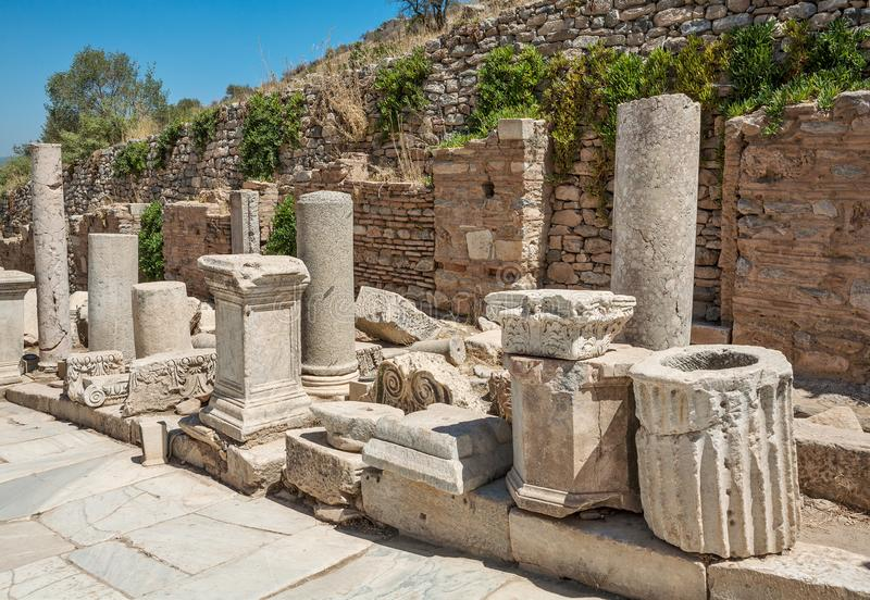 Ruins of Curetes street in Ephesus. Selcuk in Izmir Province, Turkey. Ruins of Curetes street in antique Ephesus. Selcuk in Izmir Province, Turkey royalty free stock photos