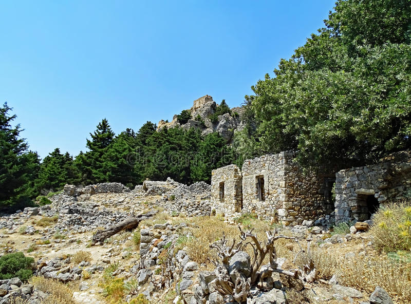 Ruins of the deserted village and the fortress Palio Pyli on the island of Kos in Greece stock images