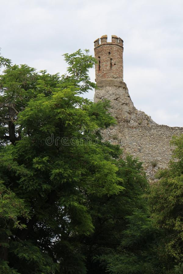 Ruins of Devin castle over Danube river near Bratislava. Slovakia royalty free stock photography