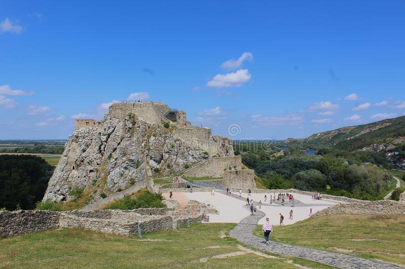 Ruins of Devin castle, Slovakia stock photo