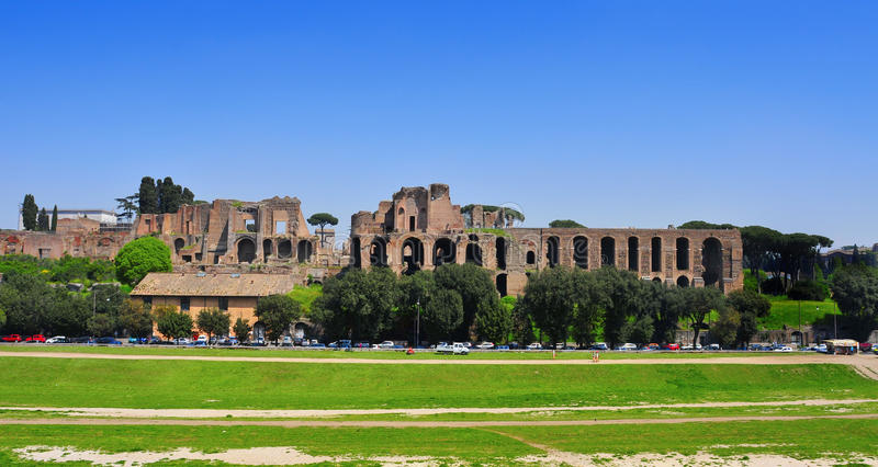 Ruins of the Domus Augustana on Palatine Hill in Rome, Italy stock image