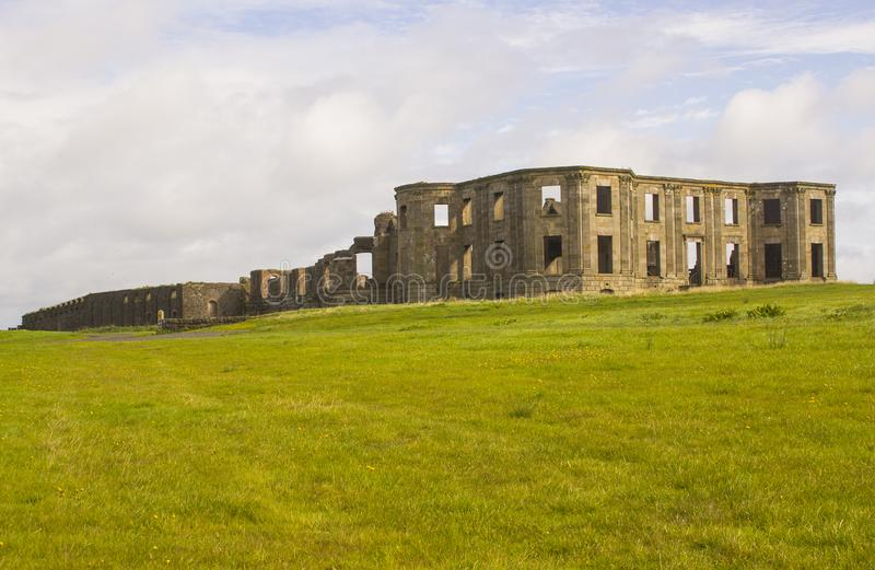 The ruins of the Earl Bishop`s flamboyant house in the grounds of the Downhill Demesne near Coleraine in Northern Ireland royalty free stock photo