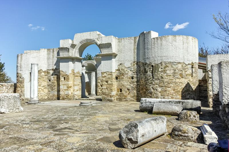 Ruins of Early 10th century Round Church of St. John near The capital city of the First Bulgarian Empire Great Preslav royalty free stock images