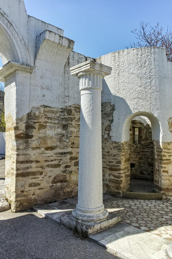 Ruins of Early 10th century Round Church of St. John near The capital city of the First Bulgarian Empire Great Preslav stock photos
