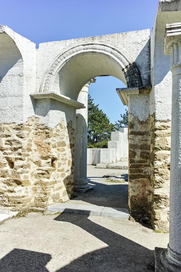 Ruins of Early 10th century Round Church of St. John near The capital city of the First Bulgarian Empire Great Preslav royalty free stock photo