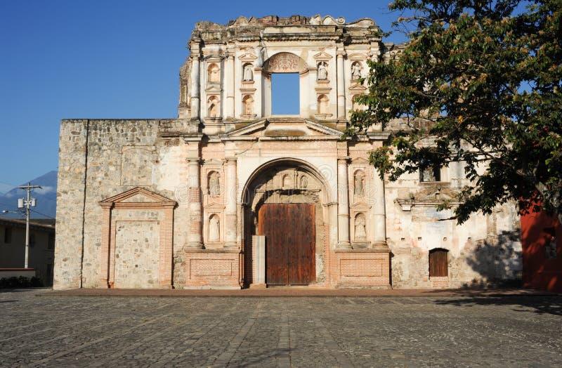 Ruins of El Carmen church at Antigua. On Guatemala royalty free stock photography