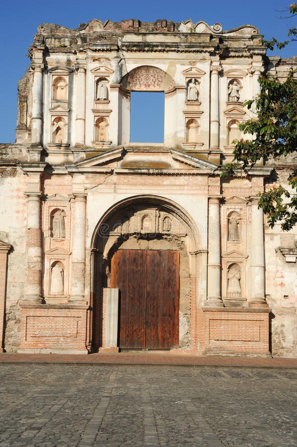 Ruins of El Carmen church at Antigua. On Guatemala stock photo