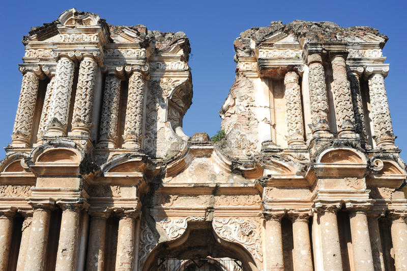 Ruins of El Carmen church at Antigua. On Guatemala royalty free stock images