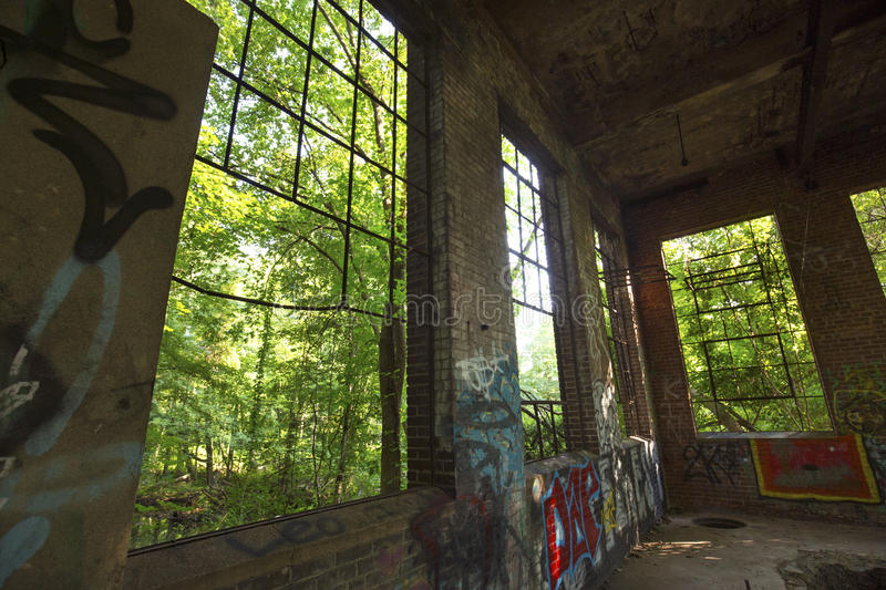 Ruins of electrical station, Hockanum River in Manchester, Connecticut. stock photos