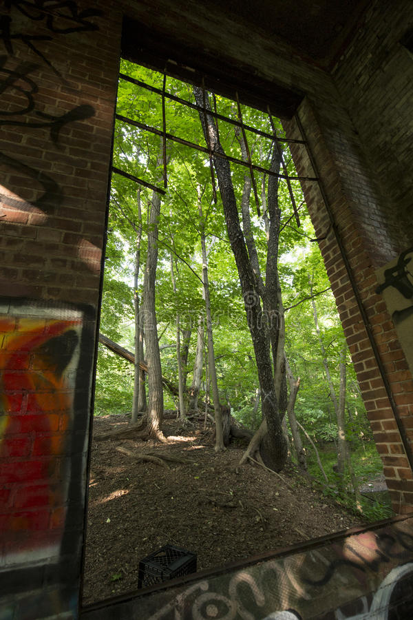 Ruins of electrical station on Hockanum River in Manchester, Connecticut. Interior ruins of E.E. Hilliard's 19th century hydroelectric station, Hockanum River stock image