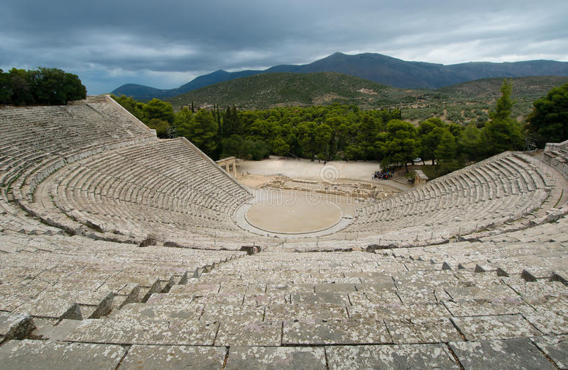 Ruins of epidaurus theater, peloponnese, greece. Ancient ruins of epidaurus theater, peloponnese, greece royalty free stock photos