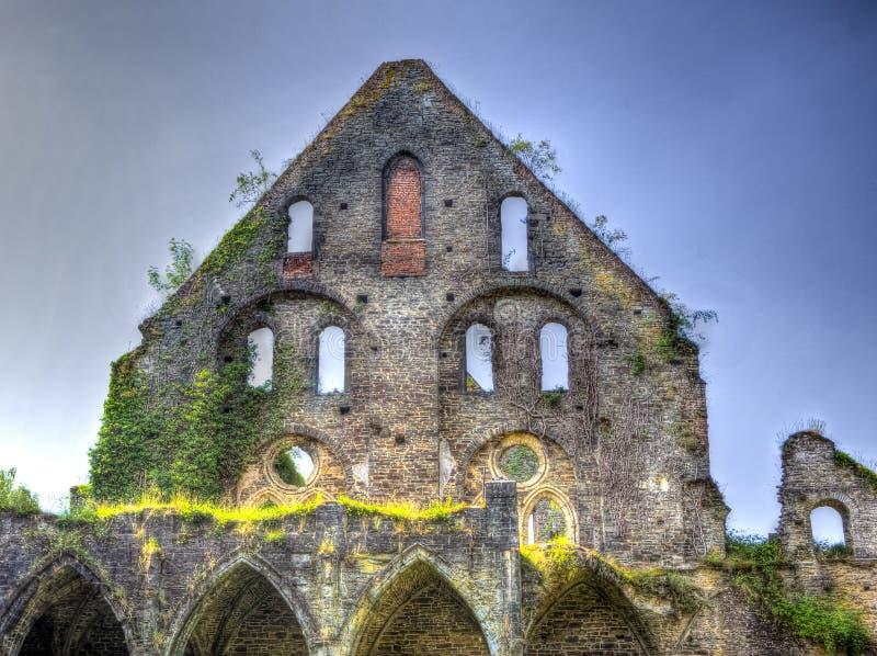 Ruin facade medieval house stock photos