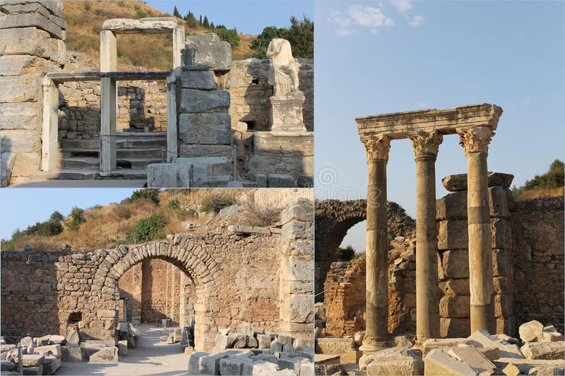 The ruins of the famous ancient city of Ephesus in Turkey, the object of UNESCO. Collage 3 photo royalty free stock photography