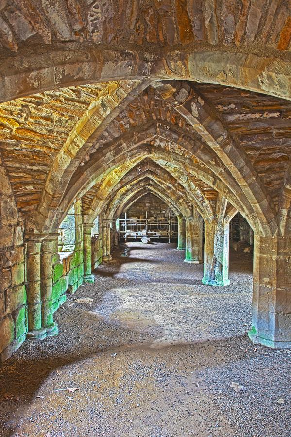 Ruins of Finchale Priory - The frater undercroft. Finchale Priory is a 13th-century Benedictine monastery built by the monks of Durham Cathedral on the site of a royalty free stock photos