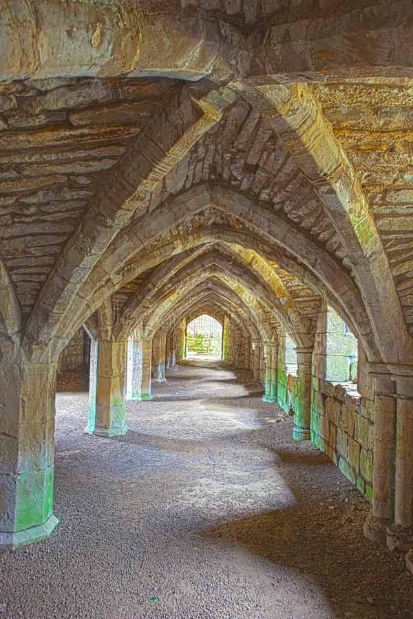 Ruins of Finchale Priory - The frater undercroft. Finchale Priory is a 13th-century Benedictine monastery built by the monks of Durham Cathedral on the site of a royalty free stock photo