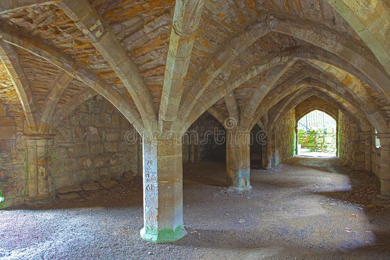 Ruins of Finchale Priory - The frater undercroft stock photos