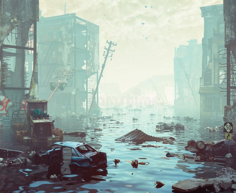 Apocalyptic landscape. Ruins of the flooding city. Apocalyptic landscape.3d illustration concept stock illustration