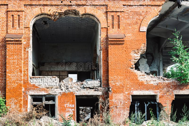Ruins of the former industrial enterprise stock photo