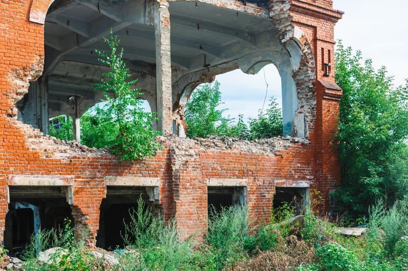 Ruins of the former industrial enterprise stock image