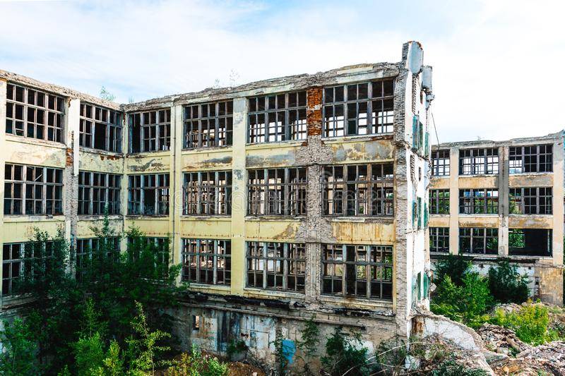 Ruins of the former industrial enterprise royalty free stock photo