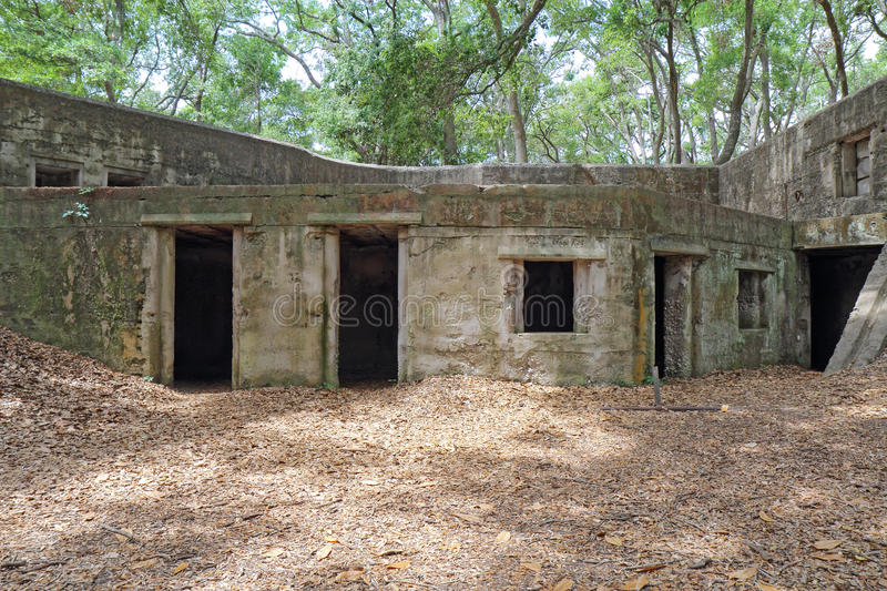 Ruins of Fort Fremont near Beaufort, South Carolina. Concrete ruins of the gun battery at Fort Fremont, constructed during the Spanish-American war beginning in stock image