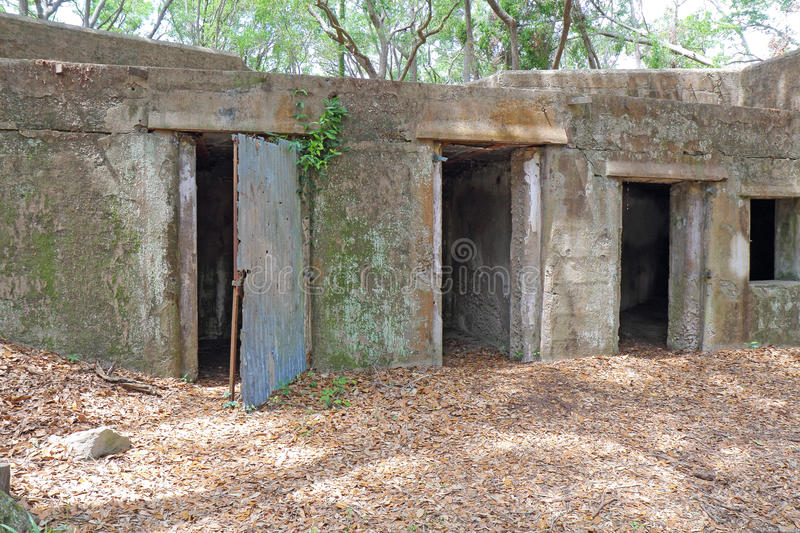 Ruins of Fort Fremont near Beaufort, South Carolina. Concrete ruins of the gun battery at Fort Fremont, constructed during the Spanish-American war beginning in royalty free stock photo
