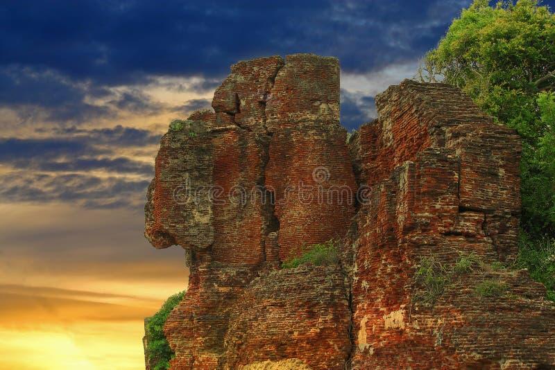 Ruins of fort in golden hour stock image
