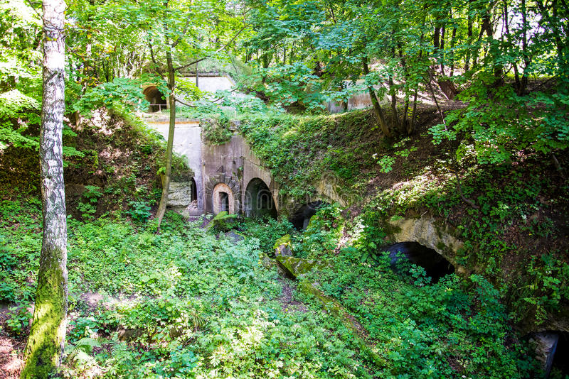 The ruins of the fort. Fort WI Salis Soglio - artillery fort Single-shaft concrete masonry Fortress-natural, located in the Habitats. Built between 1882-1886 royalty free stock image