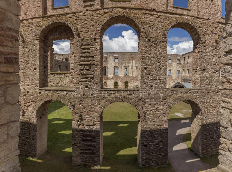 Borgholm ruin wallls. Ruins of a fortified building in Borgholm, Sweden stock photos