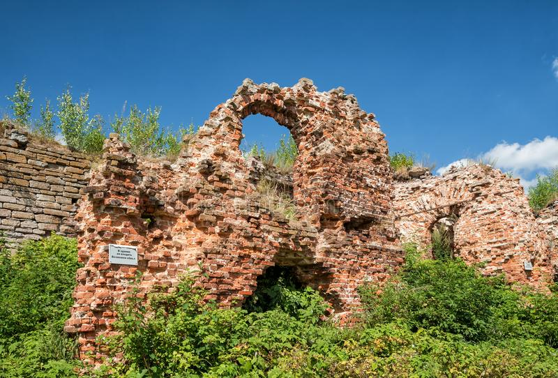 Ruins in fortress of Oreshek. Ruins of the 1st prison building in the fortress of Oreshek. The inscription in Russian `The building does not enter, it is stock image