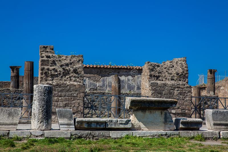 Ruins of the Forum in the ancient city of Pompeii. In a beautiful early spring day stock image