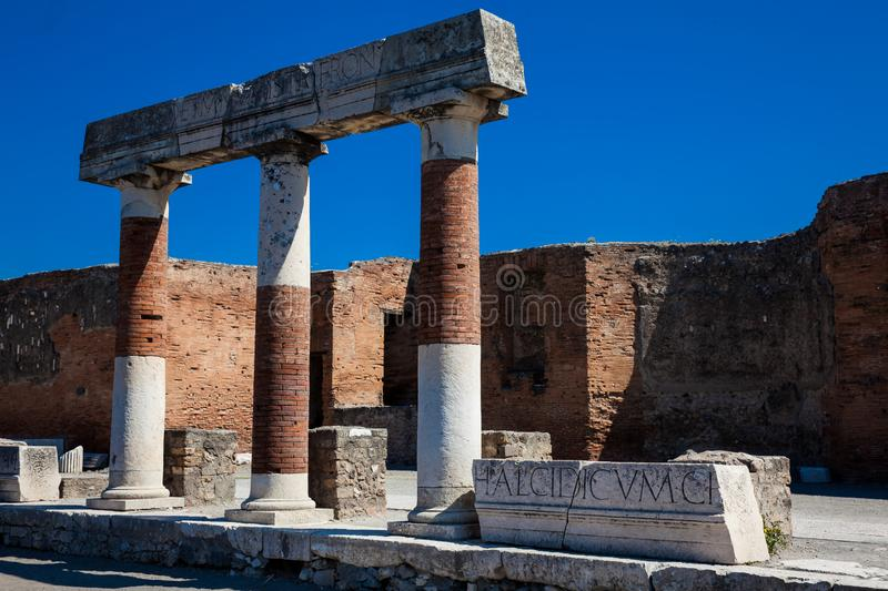 Ruins of the Forum at the ancient city of Pompeii. In a beautiful early spring day royalty free stock images