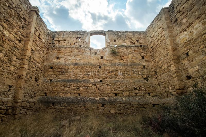 Ruins found on the coast of Northern Cyprus standing right at the sea. royalty free stock image