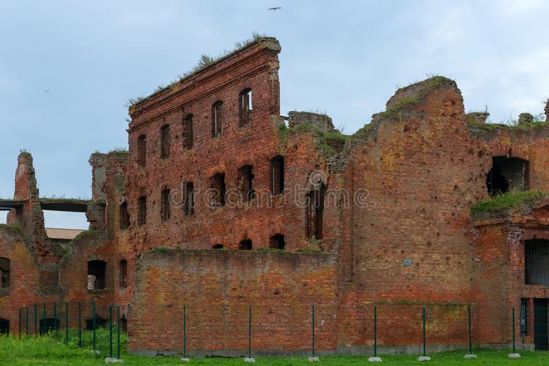 Ruins of the fourth prison building of the Fortress of Oreshek stock image