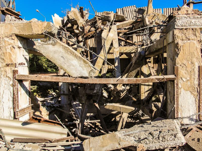 Ruins of frame reinforced concrete constructions royalty free stock photos