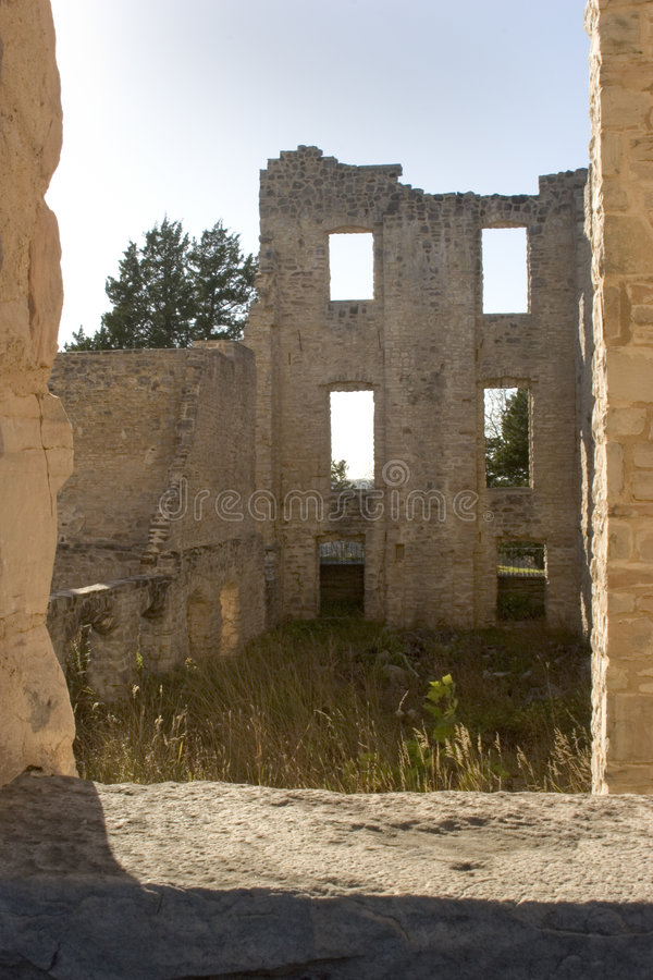 Ruins framed in a window. stock photos