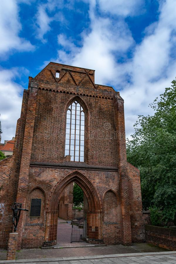Ruins of the Franciscan Church in Gothic style in Berlin royalty free stock photo