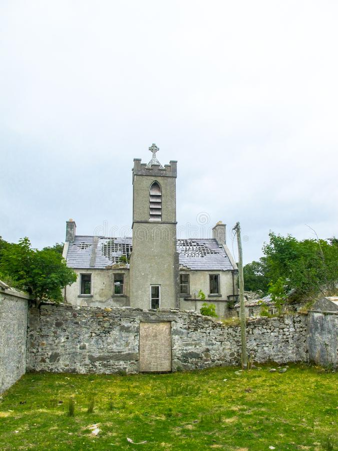 Ruins of a Franciscan friary in Bunnacurry, Achill Island, Co. Mayo, Ireland. This photograph, show the abandoned Franciscan Third Order friary at Bsunnacurry royalty free stock images