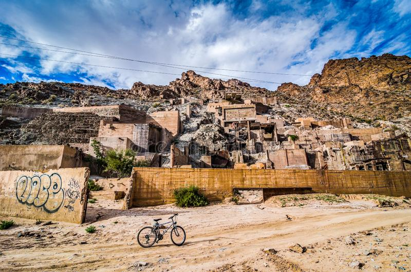 Ruins of a French mining operation remain near Midelt, Morocco.  royalty free stock image