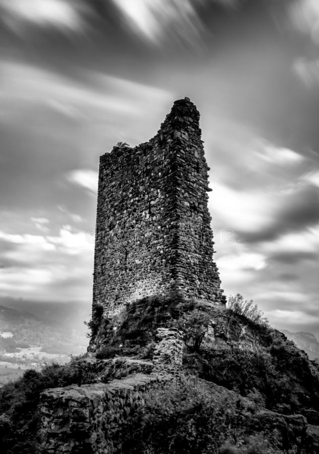 The ruins of the Freudenberg Castle in Bad Ragaz in Southeastern Switzerland in black and white. Bad Ragaz, SG / Switzerland - 9. July 2019: the ruins of the royalty free stock images
