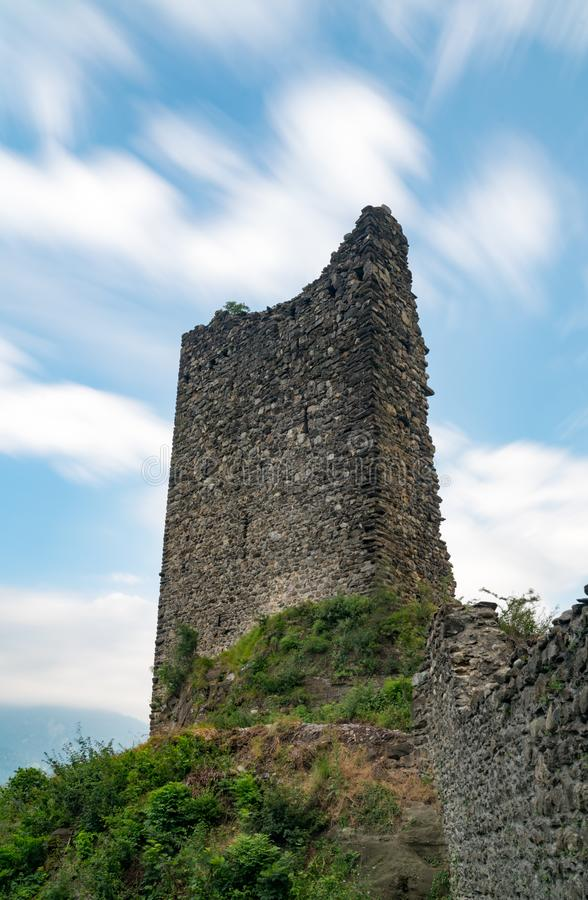 The ruins of the Freudenberg Castle in Bad Ragaz in Southeastern Switzerland. Bad Ragaz, SG / Switzerland - 9. July 2019: the ruins of the Freudenberg Castle in stock photo