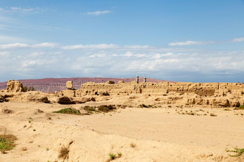 Ruins of Gaochang, Turpan, China. Dating more than 2000 years, Gaochang and Jiaohe are the oldest and largest ruins in Xinjiang. The Flaming mountains are stock images