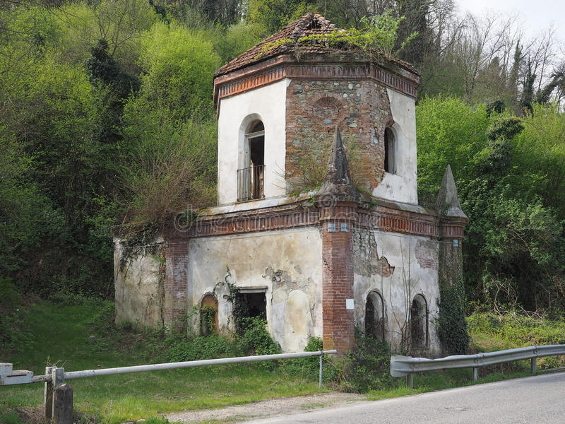 Ruins of gothic chapel in Chivasso, Italy. Ruins of ancient gothic chapel in Valcerrina street near Chivasso, Italy stock photography